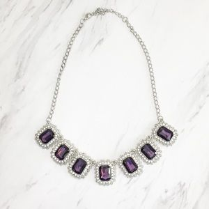 Charming Charlie silver and purple jewel necklace